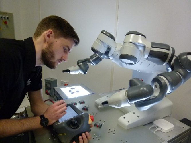 After undertaking an apprenticeship with ABB's robotics business, Louis Novakovic now specialises in programming ABB's dual-arm YuMi collaborative robots. You can read about his experiences here: https://www.linkedin.com/pulse/how-were-putting-young-people-path-robotic-future-abb-robotics-uk/